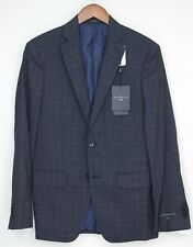 NEW John Varvatos Luxe Suit 38R 31W Navy Blue Gray Plaid Wool Silk Blend Jacket