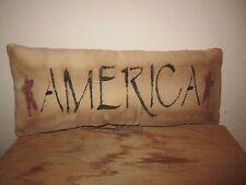 Primitive Stenciled Pillow - America-  barn red stars