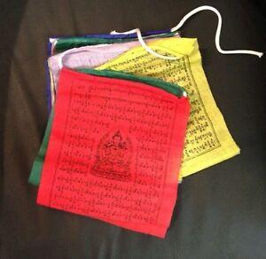 "10 Tibetan Prayer Flag Buddhist  4""x4""  Wind Horse Om Handmade Nepal FAIRTRADE"