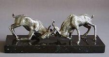 Sculpture Animalière Bronze Argenté Combat De Grand Koudou, Vers 1930