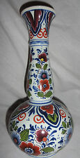 """Beautiful Delft Dutch Multicolor Fluted Handpainted Vase 9 1/2""""  Made in Holland"""