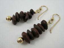 GRIEGER'S INC. Gold Filled Bead & Brown Seed Pod Pierced Earrings ~New Old Stock