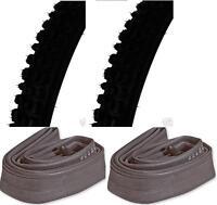 "2 X 26"" X 2.00"" Mtb Bike Tyres With Inner Tubes Car Valve BMX Black"