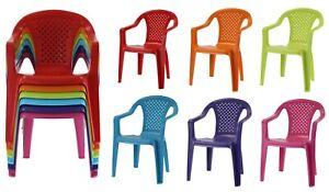 Set of 6 Plastic Kids Chairs - Coloured Stackable Indoor Outdoor Children's Play