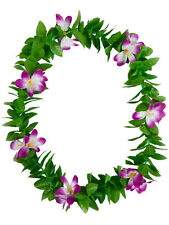 Green Leaf Leis Hawaiian Garland Purple Flowers Hula Hawaii Fancy Dress Necklace