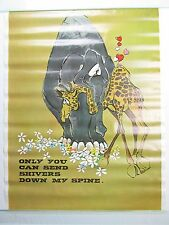 Vintage ONLY YOU CAN SEND SHIVERS DOWN MY SPINE Poster Elephant Giraffe NOS