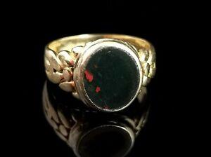 Antique Edwardian 18ct gold Bloodstone signet ring, seal ring
