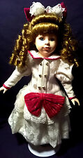 "COLLECTORS CHOICE PORCELAIN 16"" DOLL-GIRL-RED & MANILLA OUTFIT-CAUCASION-PETITE!"
