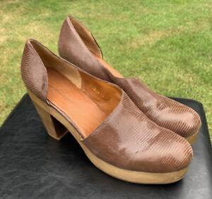 Rachel Comey Brown Leather Snakeskin Block Platform Heel Shoes Sz 10