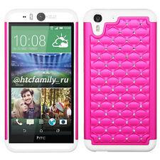 HTC M910 ( Desire EYE ) Hybrid Studded Diamond Pink Bling on White Sil