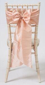 100 Blush Pink Taffeta Chair Cover Wedding Sash Bow Wedding Party UK