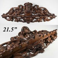 """Superb Black Forest 21.5"""" Carved Oak, Wood Pipe Rack, Figural and with Cigars"""