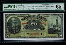 "Mexico RARE $20 Pesos""SPECIMEN""Mercantil De Monterey 1907 PMG 65 UNC"