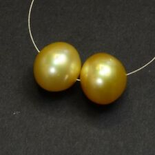 11mmx12mm Golden South Sea Cultured Off-Round Pearl Bead PAIR