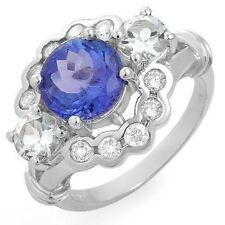3.70CT Genuine Diamonds and Tanzanite Ring Solid 14K WG  No Reserve! WOW!
