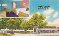 Postcard Sunset Motel Glennville GA