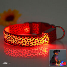 1x Pet Dog Glow Flashing LED Collar Leopard Print Design Puppy Necklace Luminous