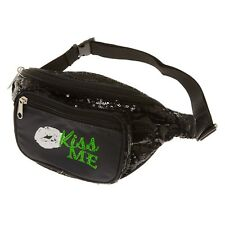 St. Patrick's Day Kiss Me Fanny Pack Black Sequins Adjustable Nwt