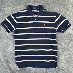 Ralph Lauren Polo Shirt Mens Medium Blue Stripe Short Sleeve Yellow Pony O1 05