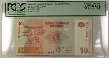 30.6.2003 Congo Democratic Republic 10 Francs Note SCWPM# 93a PCGS GEM 67 PPQ