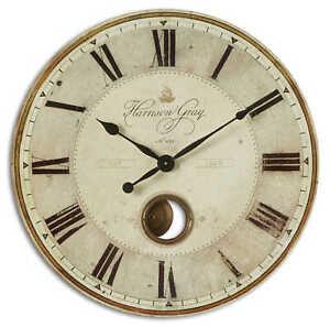 "HARRISON GRAY HUGE 30"" LAMINATED WEATHERED FINISH ROUND WALL CLOCK PENDULUM"