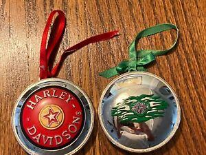 Two Harley Davidson Christmas Ornaments