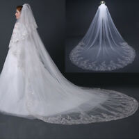 4M White Ivory Cathedral Lace Veil Edge Sequin Bride Wedding Long Veil With Comb