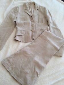 Hobbs Size 10 & 14 2 Piece 100% Linen Jacket Skirt Summer Suit