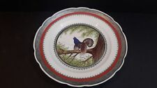 """Mitterteich Hand Painted Porcelain Plate CAPERCAILLE Silver Edges 12 5/8"""""""