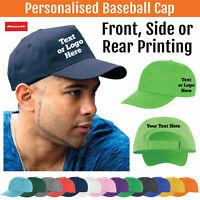 Printed Result Baseball Cap Personalised Custom Hat Text Logo Mens Ladies