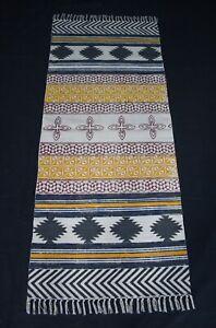 "31"" x 72"" Handmade Cotton Block Print Runner Flat Weave Boho Area Rug DN-1874"