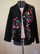 Women's Black Embroidered Floral Jacket, Units, Large, NWOT