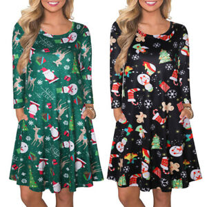 Womens Ugly Christmas Snowman Xmas Dress Long Sleeve Casual A-line Party Dress