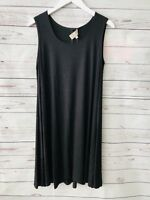 Joan Vass Black Dress Sleeveless Swing Tunic Large New Knee Length