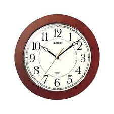 Casio  IQ126-5D Round Wood Frame White Face Easy to Read Wall No Ticking Clock
