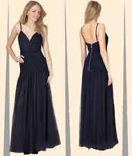 Lipsy 10 VIP Navy Ruched Netted Maxi Evening Dress Cruises Party BNWT