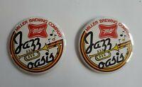 Vintage Miller Brewing Company Jazz Oasis Pinback Button Lot of 2 - Miller Beer