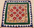 """34"""" x 34"""" Vintage Rabari Throw Embroidery Ethnic Tapestry Tribal Wall Hanging"""