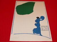 "[Coll. R-JEAN MOULIN ART XXe] PIERRE BURAGLIO (FR) LITHOGRAPHIE ""PAIX"" Superbe!"