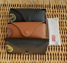 3 Ray-Ban Sunglasses Eyeglass Cases  Black + Brown  Snap Luxotica Seal