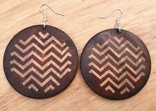 Large Handmade Boho Bohemian African Wood Wooden Ethnic Earrings + Gift Pouch