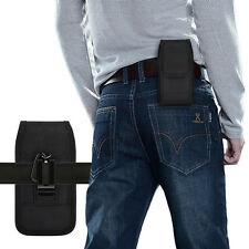"""Vertical Holster Belt Clip Carrying Case Pouch for iPhone Samsung 5.5"""" Black"""