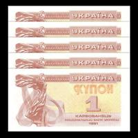 UNC 1991 P-81 Ukraine 1 Karbovantsiv Lot 5 PCS banknote