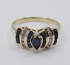 ESTATE 70's SOLID 14K GOLD 0.15CTW DIAMOND & SAPPHIRE COCKTAIL RING sz 7 ~ 3.3 g