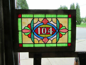 ~ ANTIQUE STAINED GLASS TRANSOM WINDOW ADDRESS 104 ~ 30 x 20 ~ SALVAGE
