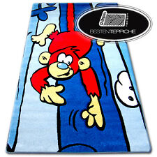 """Modern And Cheap Rugs for Kids """" Happy """" Blue Monkey - 6 Sizes"""
