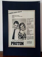 Pubblicità originale Proton anni '50 rifilatura da rivista in passepartout