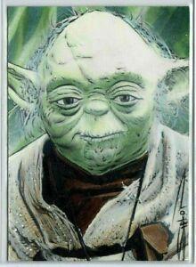 Yoda Star Wars ORIGINAL Hand Drawn ACEO Sketch Card By ARTIST Randy Siplon BABY