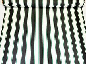 "Sunbrella Closeout Dk Denim White Green Stripe Outdoor Upholstery UV Fabric 54""W"