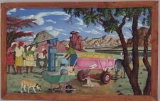 African Marvelous Mangena oil painting people by the well signed